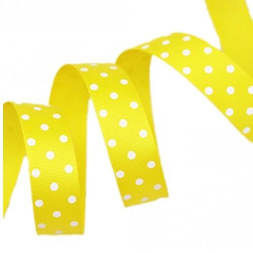 Лента репсовая Желтая в горошек 0.9 см фото