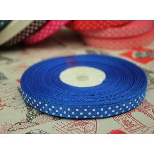 Лента репсовая Синяя в горошек 0.9 см фото