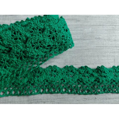 Кружево хлопок Зеленое 25 мм фото