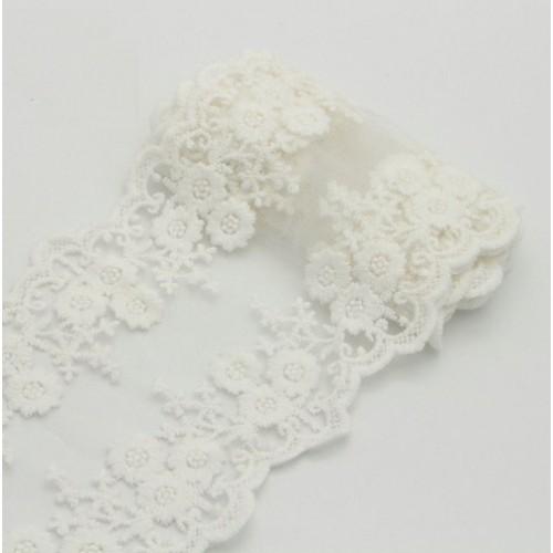 Кружево на сетке Белое, 45 см
