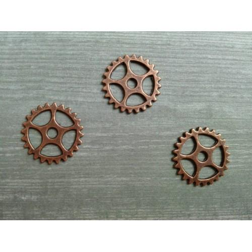 Металлический декор Шестеренка Медь, 10 мм