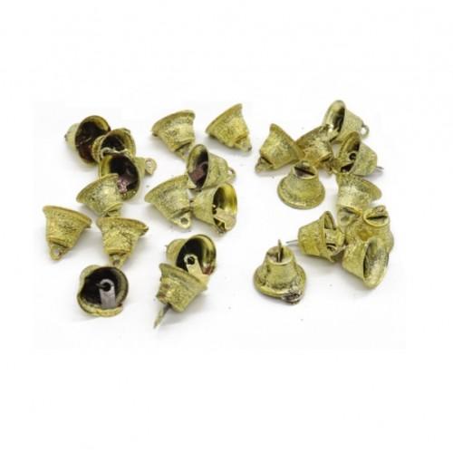 Колокольчики золотистые в блестках, 16 мм
