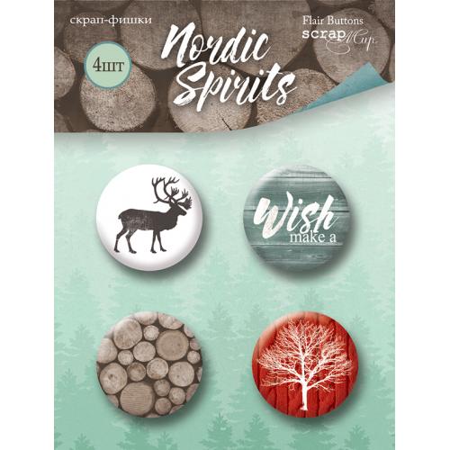 Набор скрап-фишек для скрапбукинга Nordic Spirits от Scrapmir, 4 шт