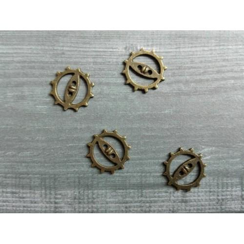 Металлический декор Шестеренка №3 Бронза, 10 мм