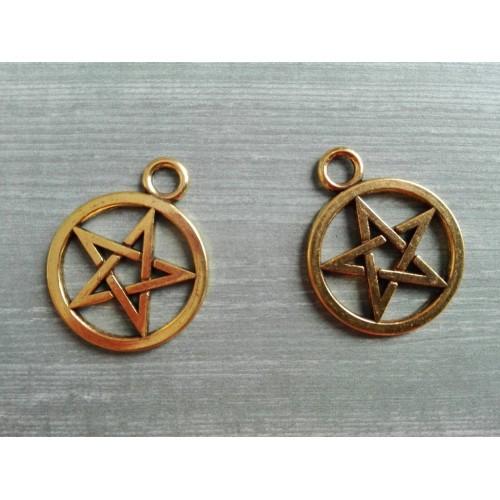 Металлический декор Пентаграмма №1 Золото, 2 см