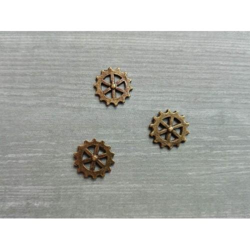 Металлический декор Шестеренка №2 Бронза, 1 см