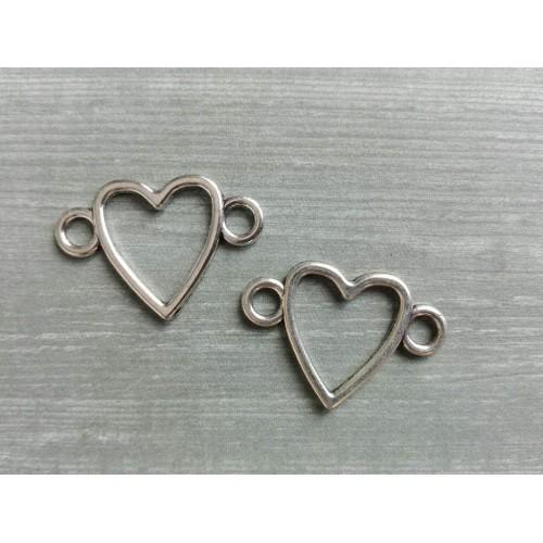 Металлический декор Сердце №10 Серебро, 1.5х2.3 см