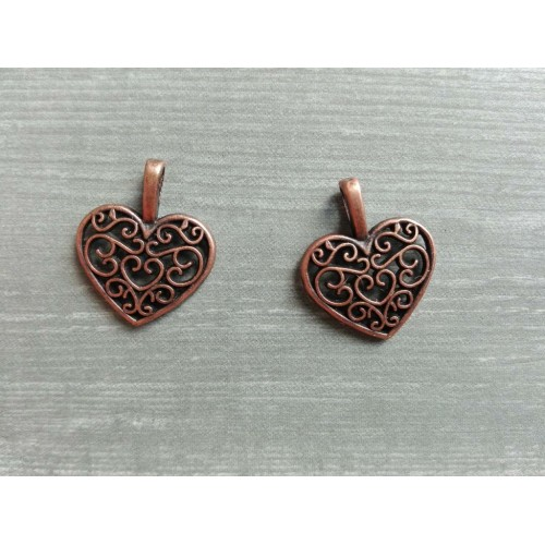Металлический декор Сердце №6 Медь, 1.8х1.3 см
