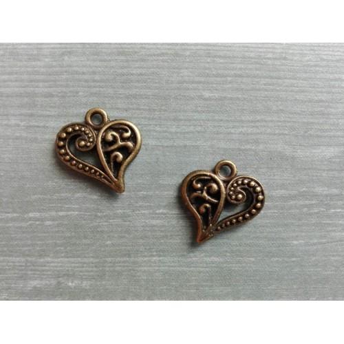 Металлический декор Сердце №5 Бронза, 1.5х1.3 см