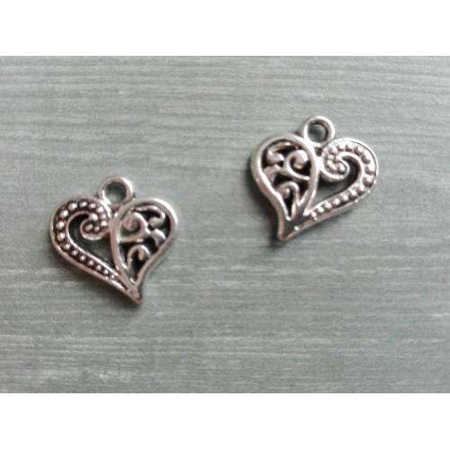 Металлический декор Сердце №5 Серебро 1.5х1.3 см фото