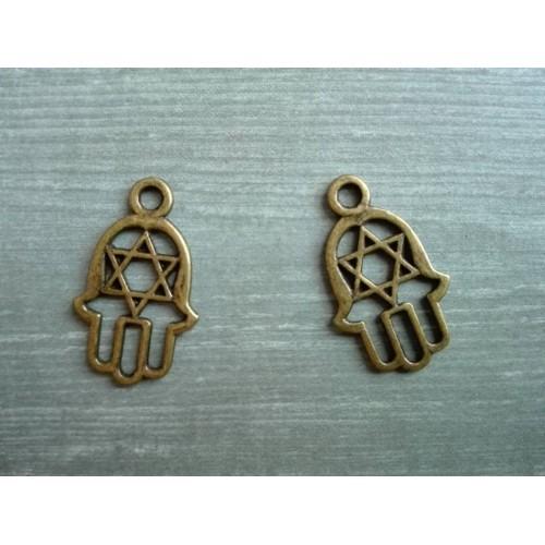Металлический декор Ладонь Звезда Давида Бронза, 3 см