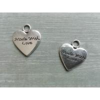 Металлический декор Сердце №22 Серебро, 1.5х1.5см
