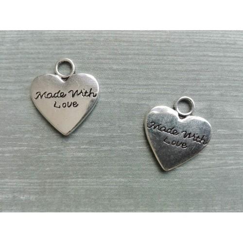 Металлический декор Сердце №22 Серебро 1.5х1.5см фото