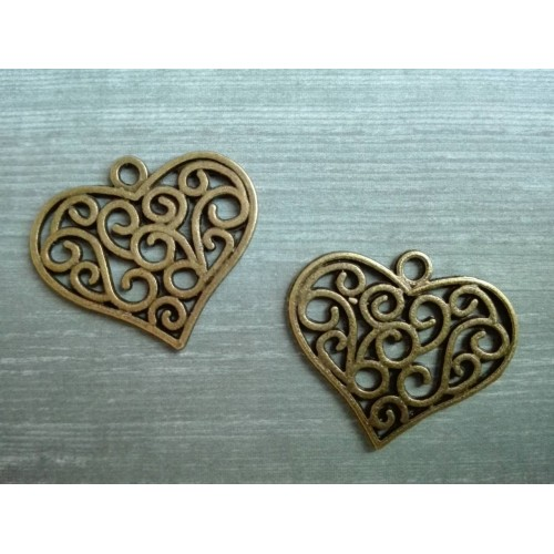 Металлический декор Сердце №7 Бронза, 2.5х2.2 см