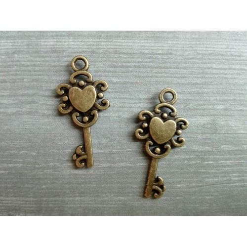 Металлический декор Ключ №8 Бронза 2х1см фото