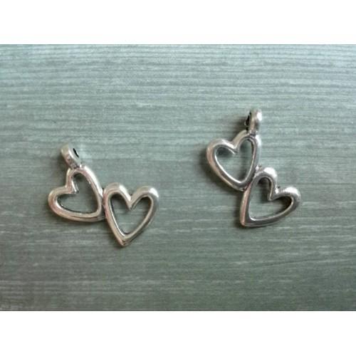 Металлический декор Сердце №4 Серебро, 1.5х1 см