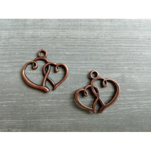 Металлический декор Сердце №2 Медь, 2х1.7 см