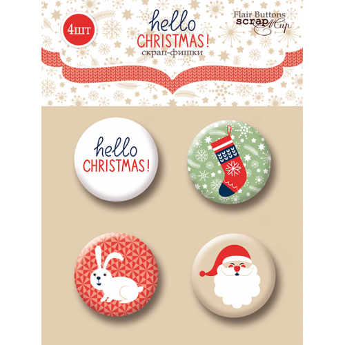 Набор скрап-фишек для скрапбукинга Hello Christmas от Scrapmir, 4 шт