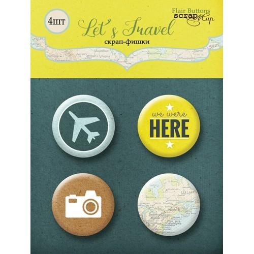 Набор скрап-фишек для скрапбукинга Let's Travel от Scrapmir, 4 шт