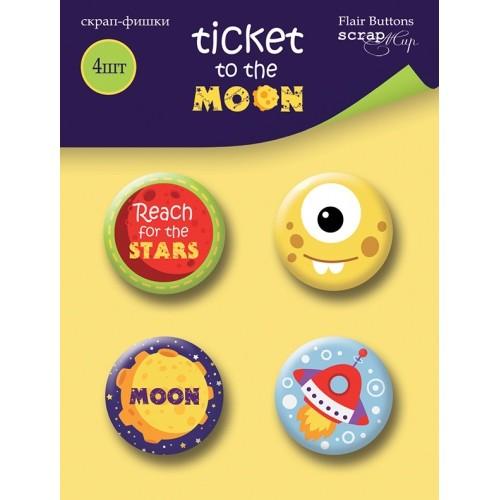 Набор скрап-фишек для скрапбукинга Ticket to the Moon от Scrapmir, 4 шт