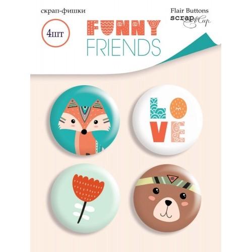 Набор скрап-фишек для скрапбукинга Funny Friends от Scrapmir, 4 шт