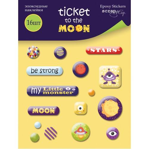 Эпоксидные наклейки Ticket to the Moon от Scrapmir, 16 шт