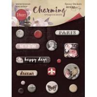 Эпоксидные наклейки Charming (Очарование) от Scrapmir, 16 шт