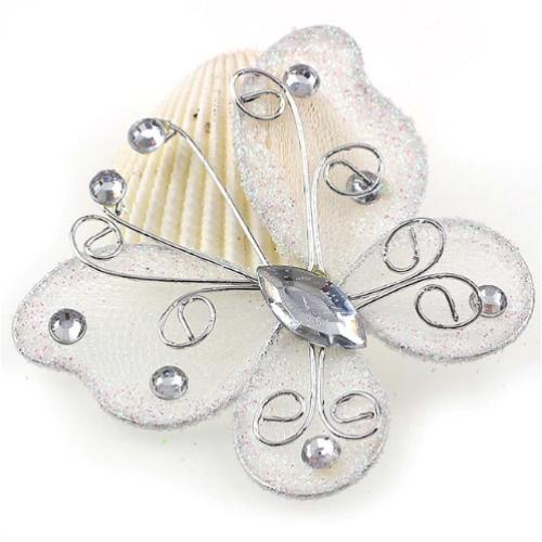 Бабочка для декора Белая, 5х4,5 см