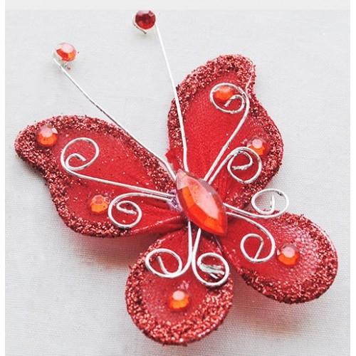 Бабочка для декора 5х4,5 см Красный