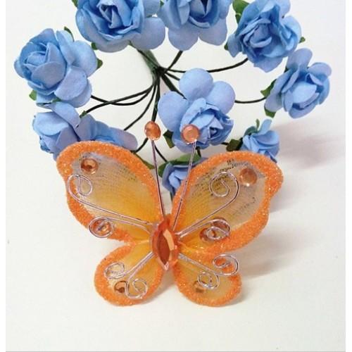 Бабочка для декора 5х4,5 см Оранжевый