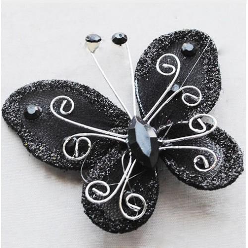 Бабочка для декора 5х4,5 см Черный