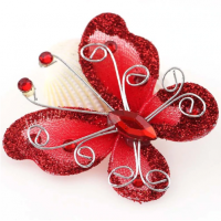 Бабочка для декора Красная, 5х4,5 см
