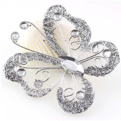 Бабочка для декора Серебро, 5х4,5 см