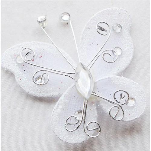 Бабочка для декора 5х4,5 см Белый