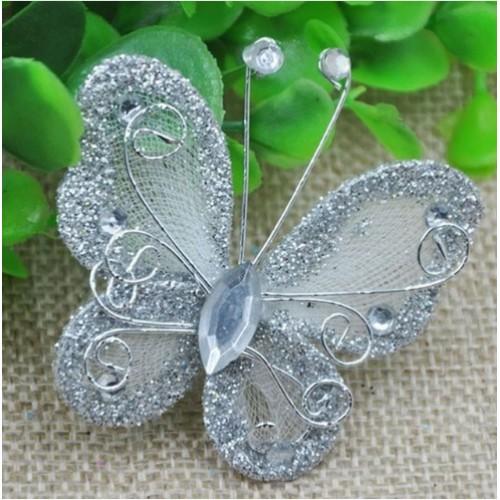Бабочка для декора 5х4,5 см Серебро