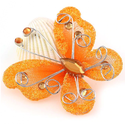 Бабочка для декора Оранжевая, 5х4,5 см