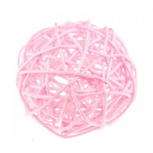 Шарик из ротанга Светло-розовый 3 см фото