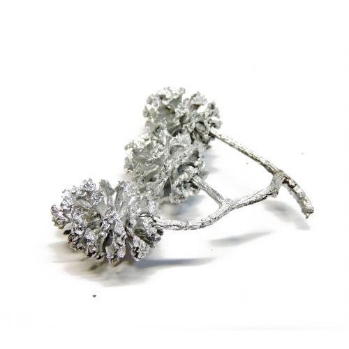 Шишка Ольха окрашенная Серебро фото