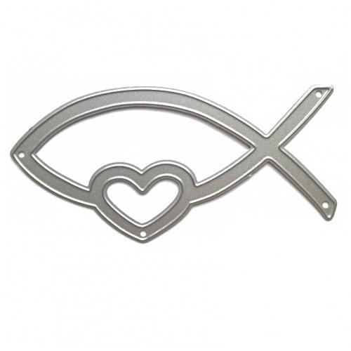 Нож для вырубки Рыбка с сердцем, фото