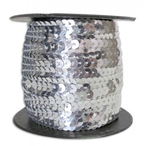 Пайетки на нитке 6 мм  Серебро фото