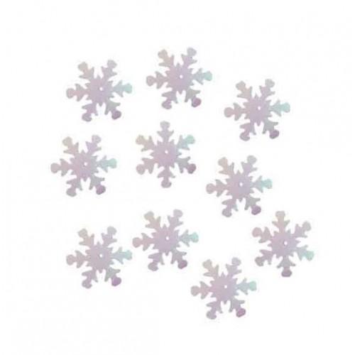 Пайетки Снежинки белые перламутровые фото