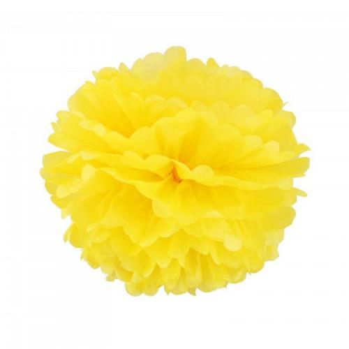 Помпон тишью желтый, 30 см