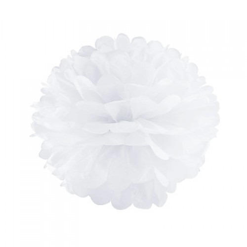 Помпон тишью белый, 30 см