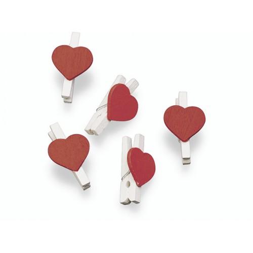 Прищепка деревянная Белая с красным сердцем 2.5 см фото