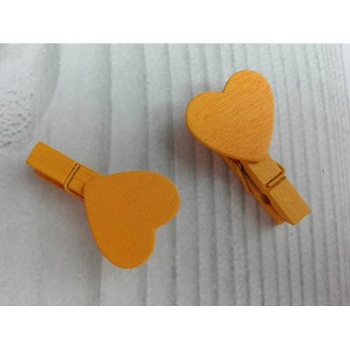 Прищепка деревянная оранжевая с сердцем 3,5 см