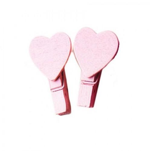 Прищепка деревянная Светло-розовая с сердцем, 3,5 см