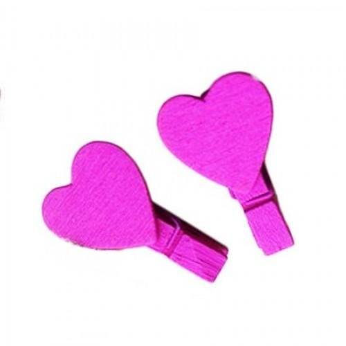 Прищепка деревянная Фуксия с сердцем, 3,5 см