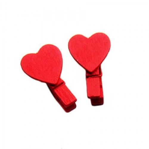 Прищепка деревянная Красная с сердцем, 3.5 см