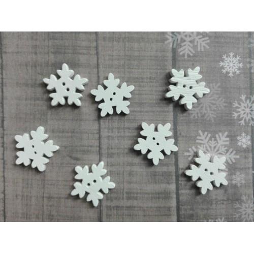 купить деревянные пуговицы Снежинки белые