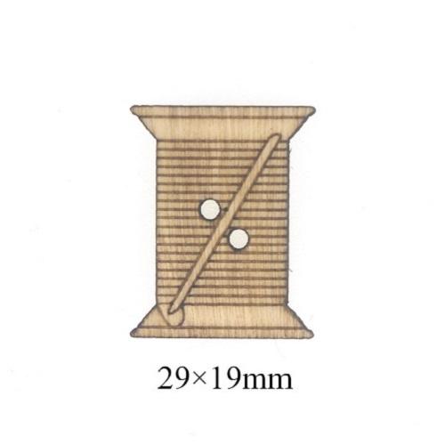 Деревянная пуговица Нитки 29х19 мм фото